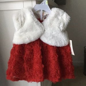 Red baby girl dress with faux fur vest